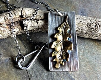 Oak Leaf Pendant in Brass and Sterling Silver - Stand Strong