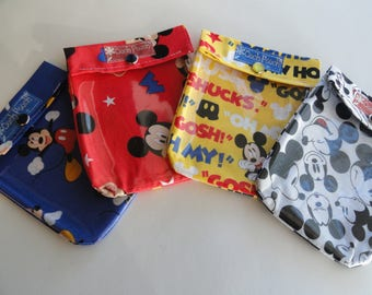Mickey Mouse Ouch Pouch 4 Pack Small 4x5 Your Choice Clear Front Purse Diaper Bag Organizers First Aid Cosmetics Disney Fish Extender Gifts