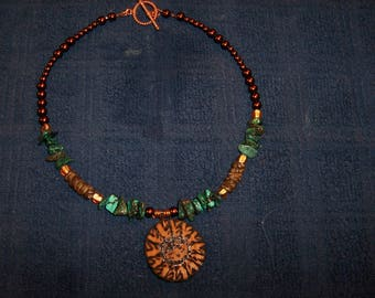 Turquoise, Copper  Southwestern Style Necklace