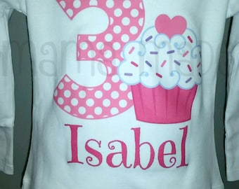Personalized Cupcake  Birthday Shirt or Bodysuit Cupcake Party Shirt pink Cupcake Birthday,girls birthday shirt,cupcake party shirt,cupcake