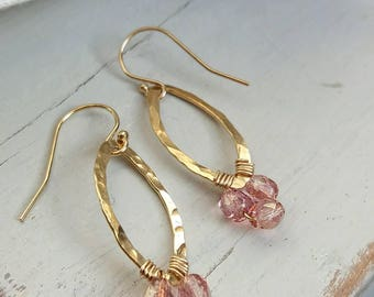 Pink Oval Gold Filled hammered wire wrapped earrings/pink beaded earrings/gold filled earrings/gold filled jewellery/dangle earrings