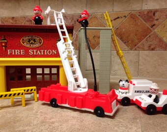 Vintage Fisher Price Play Family Fire Station