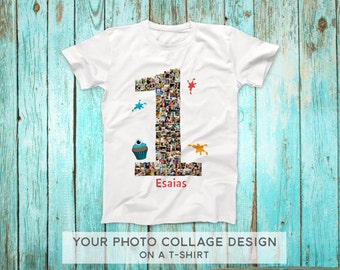 First Birthday Outfit, One Year Shirt, 1st Birthday Outfit, Family Reunion shirts, Birthday Shirt, White T-shirt with Photo Collage