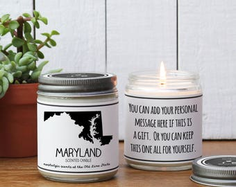 Maryland Scented Candle - Homesick Gift | I Love Maryland | State Scented Candle | Moving Gift | College Student Gift | State Candles