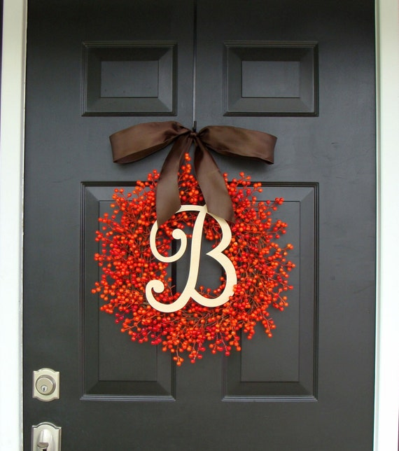 Berry Monogram Wreath- Fall Wreath- Fall Berry Wreath- Fall Decor- Wedding Decor- WEATHERPROOF Berries