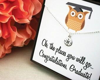 Graduation gift, graduation gift for her, graduation necklace, graduate gift, graduate gift for her, graduation, compass necklace, compass