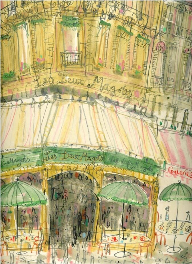 PARIS CAFE WATERCOLOR Les Deux Magots Signed Paris Art Print