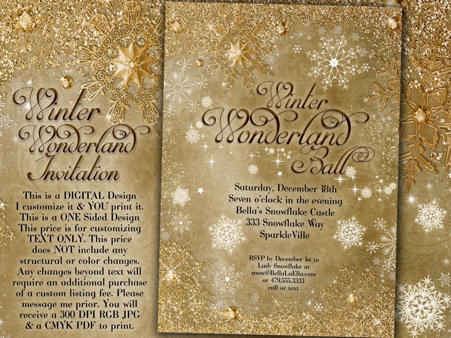 Gold Snowflake Invitation Winter Wonderland Party Invitation