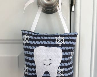 Tooth Fairy Pillow - Blue and Navy Nautical Ship Wheels Tooth Fairy Pillow with Tooth Pocket - Ready to Ship