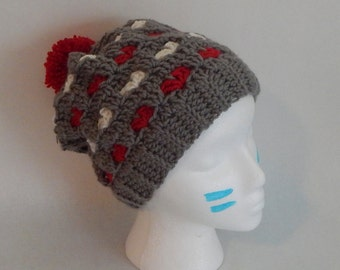 Ohio State Crochet Heart Slouchy Hat