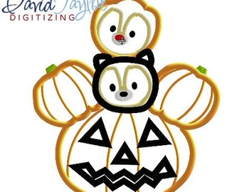 Tsum Halloween Chip Dale - 4x4, 5x7, 6x10 and 8x9 in 9 formats - Applique - Instant Download - David Taylor Digitizing