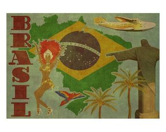 BRAZIL 2FS- Handmade Leather Journal / Sketchbook - Travel Art