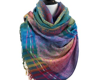 Pashmina Scarf Rainbow Scarf Pashmina Shawl Gift For Her Fashion Accessories Mothers Day Pashmina Scarves Women Scarf