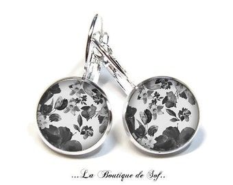 925 Sterling Silver: Stud Earrings with glass cabochons * flowers * (090218.4) 3 sizes