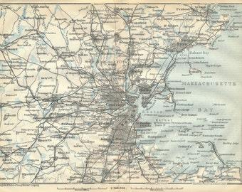 Boston Massachusetts Antique Map - Antique boston map