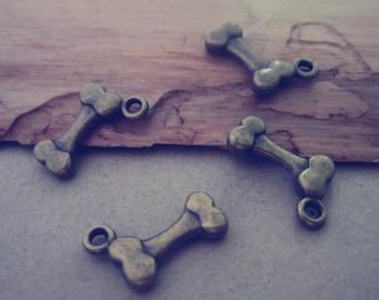 26pcs Antique Bronze  bones pendant charm 7mmx14mm
