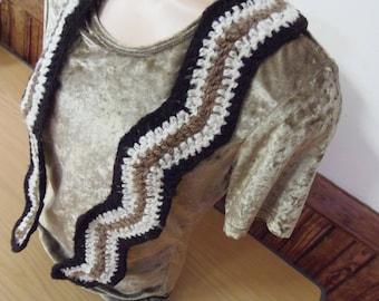 Handspun, crochet, pure wool scarf.