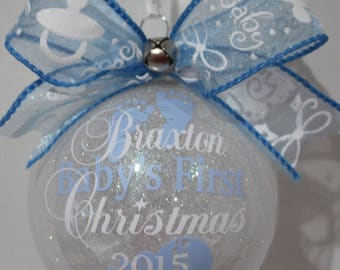 Our Baby's First Christmas Ornament, Personalized Ornament Keepsake Ornament, Baby Feet / Rattle Ornament