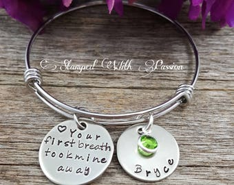 New Mom jewelry, Baby charm bracelet, Personalized birthstone name charm bracelet, Mommy Bracelet, Your first breath took mine away
