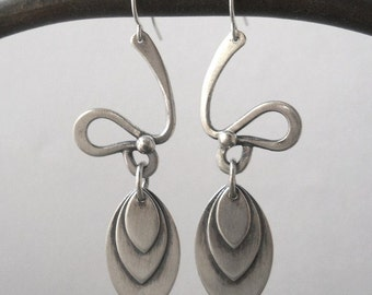 abstract leaf earrings, sterling silver, .925