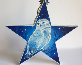 Hand painted wooden star ornament Snowy Owl design.