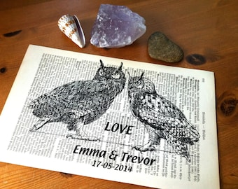 Love Owls Wedding Engagement Anniversary Valentine Gift Personalized Art Print on Antique 1896 Dictionary Book Page