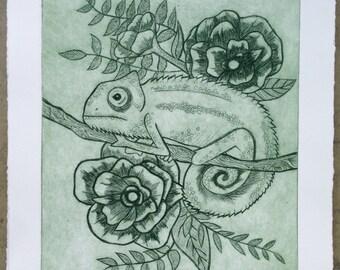 Chameleon Drypoint Print