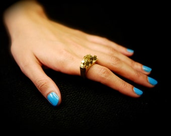 Brass Gold Pandora's Box Ring