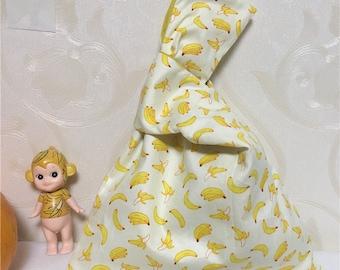 Cotton Twill Wrap Knot Pouch Wrist Bag Key Phone Wristlet Print Yellow Banana W23