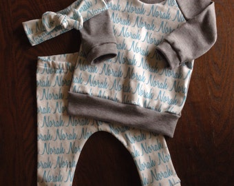 Personalized Name Bundle in Organic Cotton - Leggings, Raglan and Top Knot Headband - you choose print