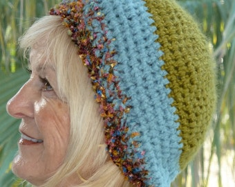 Slouchy winter hat, women's winter hat in green and blue, unique slouchy beanie, Bohemian accessories, women's unique winter head fashion