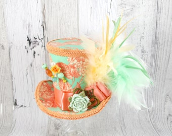 Mint and Peach Flower Large Mini Top Hat Fascinator, Alice in Wonderland, Mad Hatter Tea Party, Derby Hat