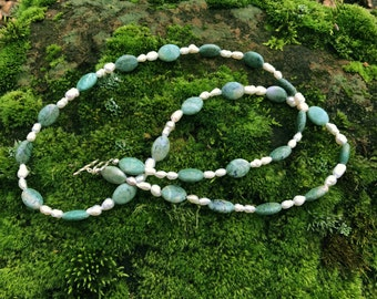 "Sweet & Elegant ... 30"" handcrafted necklace with freshwater pearls, green Jasper oval stones, sterling silver beads and clasp"