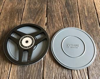 Vintage Film Reel - Keystone Boston Film Reel And Canister - Retro Film Reel - Black Metal Film Reel - Movie Room Decor - 8mm Film Reel