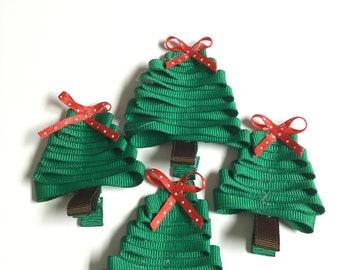 Christmas tree ribbon sculpture hair clip