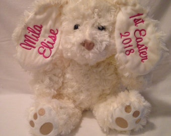 Embroidered Bunny  1st Easter   Easter Bunny Baby Announcement    diaper cake Baby Shower    ITS A Boy ITS A Girl   Happy Birthday  Boutique