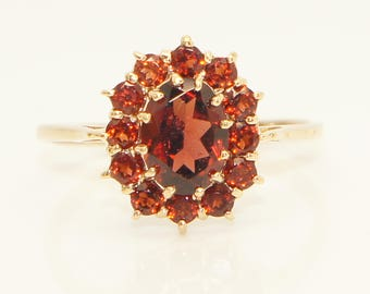 Vintage 9ct Yellow Gold Garnet Cluster Dress Ring, Size P