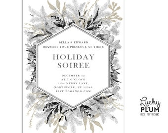 Holiday Party Invitation / Christmas Party Invitation / Glam Christmas Invite /  Modern Christmas Invitation / Engagement Invite