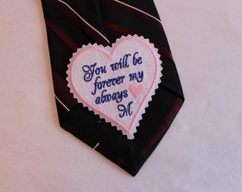 Groom Tie patch, Custom Message tie patch. Best Groom Gift. Necktie love note. Wedding gift for your groom. Love Note from Bride. TSH32