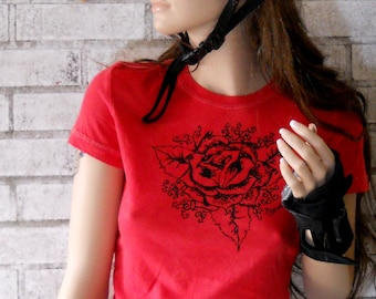 Rose Shirt, Red Rose Cotton Crewneck Ladies Tshirt, Romantic, Romance, Tattoo, Purity, Valentines Day Gift