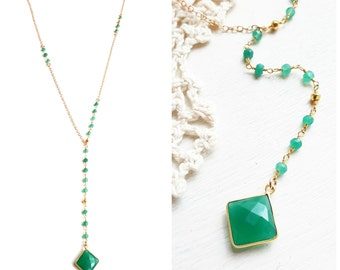Green Onyx Necklace - Long Necklace - 14k Gold Fill Necklace - Layering Necklace - Boho Necklace - Rosary Chain Necklace - Gift For Her
