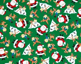 Rudolph Characters on Green from Quilting Treasure's Rudolph the Red Nose Reindeer - Fun with Rudolph Collection