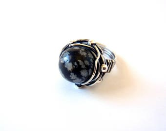 Snowflake Obsidian Ring ~ US Size 7.5 ~ Handmade Sterling Silver Orbit Ring ~ Wire Wrapped Oxidised Antiqued ~ Natural Monochrome Stone