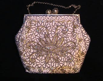 Beautiful gold beaded clasp & chain evening bag