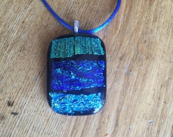 Blue Dichroic Fused Glass Pendant With Blue Silk Necklace