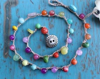 Multi-Color Bohemian Crocheted Necklace, Mixed Semi Precious Gemstones
