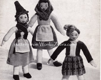 Vintage Knitted British costume dolls Knit Knitting Pattern PDF 573 from WonkyZebra