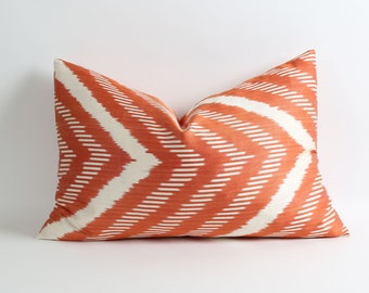 Orange terra cotta ikat silk pillow cover // Double side silk pillow