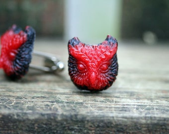 Sale Owl Cuff Links Cherry Red and Nocturnal Black Free Domestic Shipping