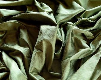 "Iridescent Sage Green Dupioni Silk, 100% Silk Fabric, 44"" Wide, By The Yard (S-222)"